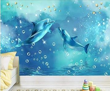 LWATML 3D Papel Pintado Dolphin Wallpaper Murals 3D Mural Para ...