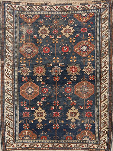 Rug Source Pre-1900 Kazak Hand Knotted Antique Oriental Area Rug 4x5 for Bedroom (5' 3'' x 4' 0'')