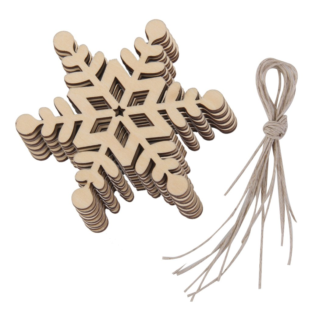 10pcs Christmas Hanging Ornaments Decoration Wooden Embellishments 8 x 8cm Hexagon Snowflake 01 Generic