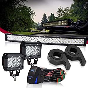 "TURBOSII DOT 32 Inch Curved LED light bar W/Horizontal Bar Clamp Mounting Kit 1""/1.5""/1.75""/2"" + Rocker Swith Wiring Harness+4 Inch Pods Cube for Bull Bar Tube Clamp Roof Roll Cage Holder"