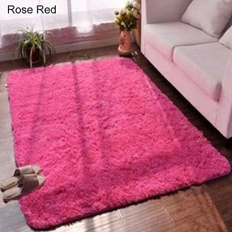 Image of RIsxffp Alfombra Suave Antideslizante de área Rectangular Alfombra de la Alfombra del Piso del Dormitorio de la Sala de Estar Rose Red 40 * 60cm