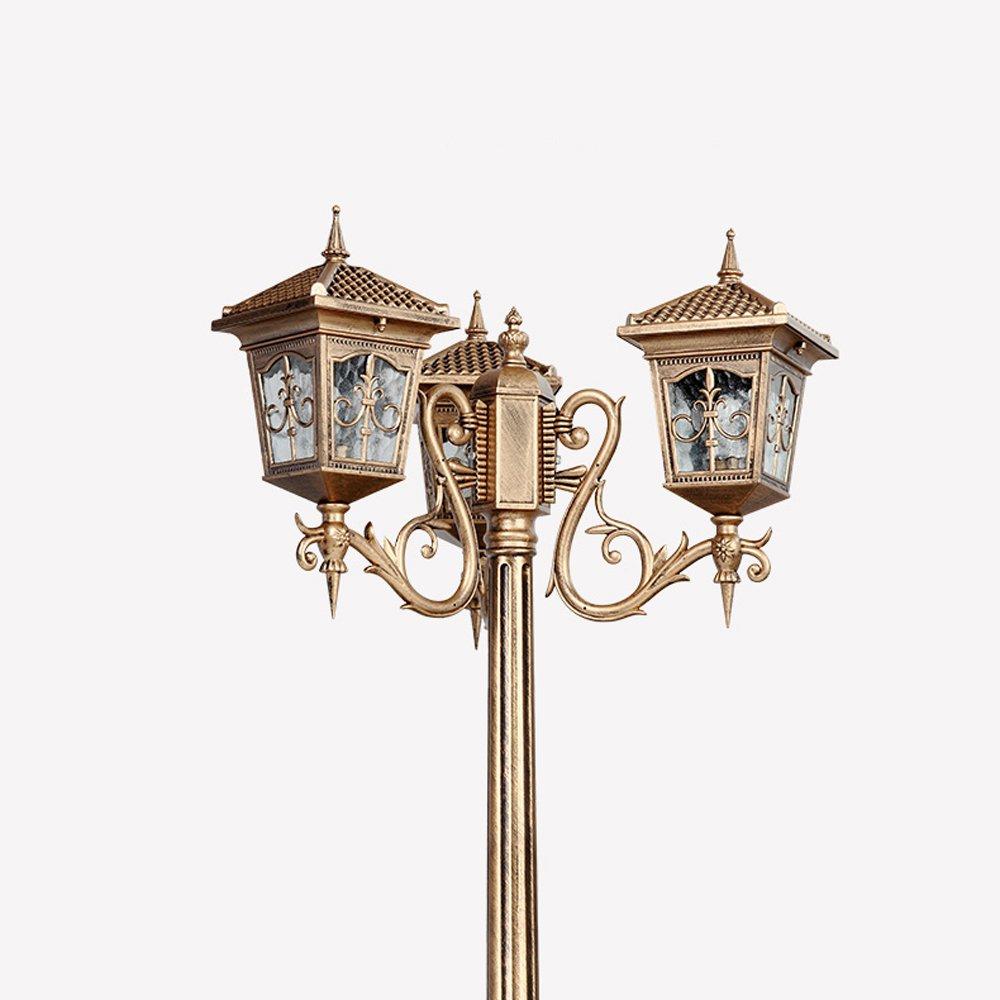Vampsky Continental Outdoor Waterproof Street Light Post Light Antique Victoria 3-Lights Garden Lights Villa High Pole Landscape Retro Column Lamp Outdoor Table Lamp Floor Lamp E27