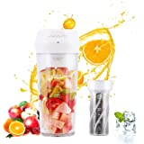 Portable Blender,Personal Blender with Filter for Shakes and Smoothie,Cordless Small Juice Cup Extractor, USB Rechargeable Juicer Detachable Fruit Mixer for Outdoor Travel Office Household Baby Food Maker 300ml(White)