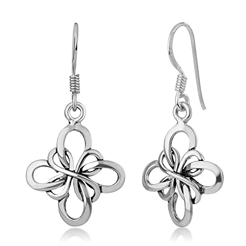acdaac9d0 Image Unavailable. Image not available for. Color: 925 Oxidized Sterling  Silver Celtic Infinity Love Knot Four Leaf Clover Flower Dangle Earrings ...