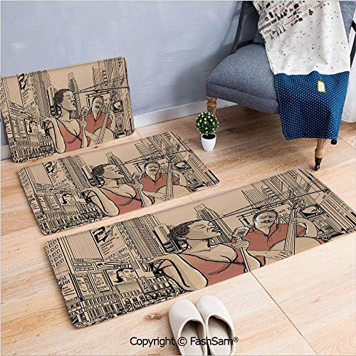 FashSam 3 Piece Flannel Bath Carpet Non Slip an Jazz Singer with Double Bass Player in a Street of New York Urban Lifestyle Front Door Mats Rugs for Home(W15.7xL23.6 by W19.6xL31.5 by W31.4xL47.2)