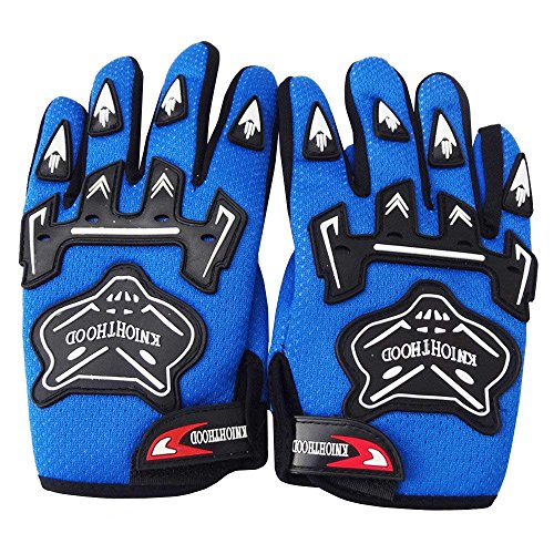 WPHMOTO Kids Full Finger Motorcycle Dirt Bike Riding Cycling Sports Gloves (S, Blue)