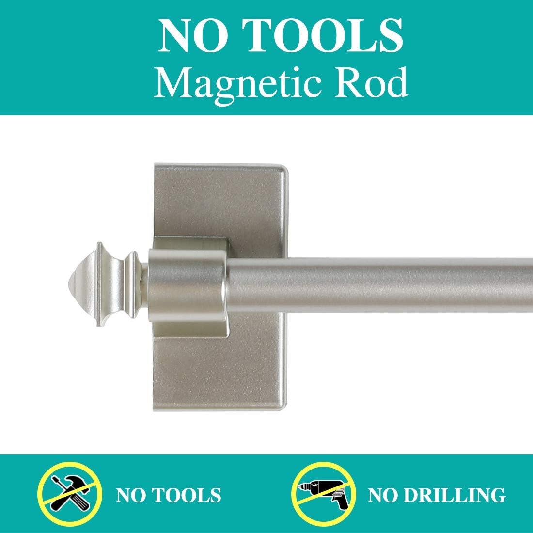 2-Pack Magnetic Curtain Rod Multi-Use Adjustable Cafe Sidelight Magnetic Rods 09-16 Magnetic Curtain Rod Nickel
