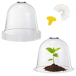 8 Pack Garden Cloche Plant Dome Bell Covers- 8pcs Medium Reusable Plastic Mini Greenhouse+ 24pcs Ground Securing Pegs+ 50pcs Plant Labels Garden Tools for Protecting Outdoors Plants (10