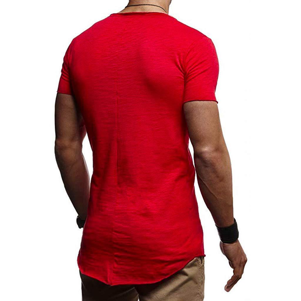 Yutao Mens Basic Fitness Shirt Solid Color Pattern Casual Fashion Stripe Lapel Short Sleeve Shirt