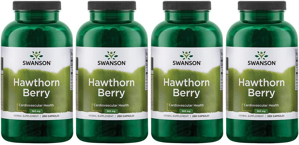 Swanson Hawthorn Berries Heart Nutrition Supplement 565 mg 250 Capsules 4 Pack