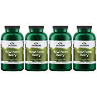 Swanson Hawthorn Berries Supplement | Supports Blood Pressure & Heart Health 250 Capsules, 565 mg Each Hawthorne Berry Pills (4 Pack)