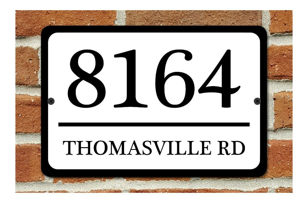 Personalized Home Address Sign Aluminum 12'' x 8'' Custom House Number Plaque (WHITE)