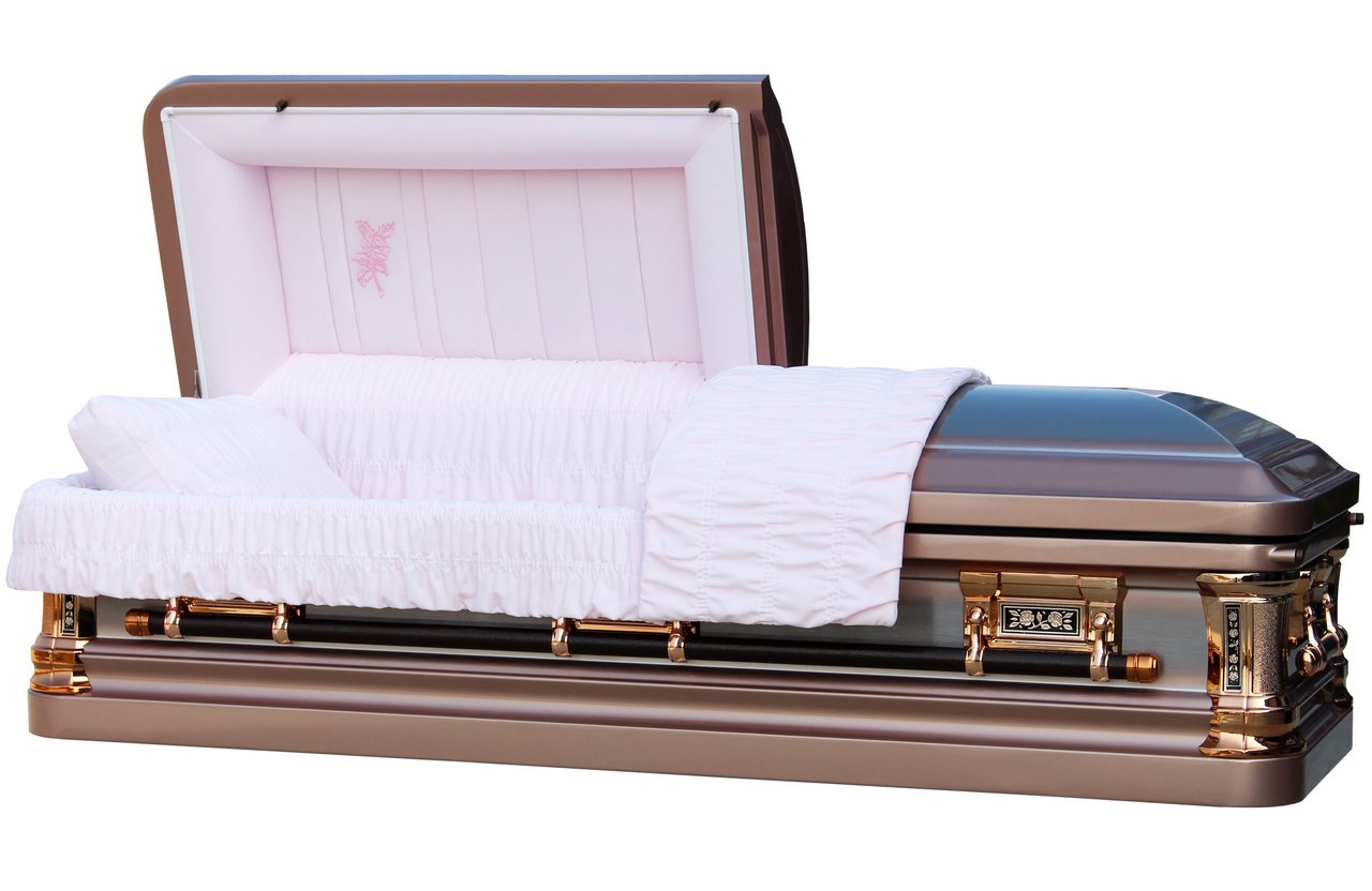Overnight Caskets - Silver Rose Brush W Pink Velvet Interior - 18 Gauge Metal Casket/Coffin