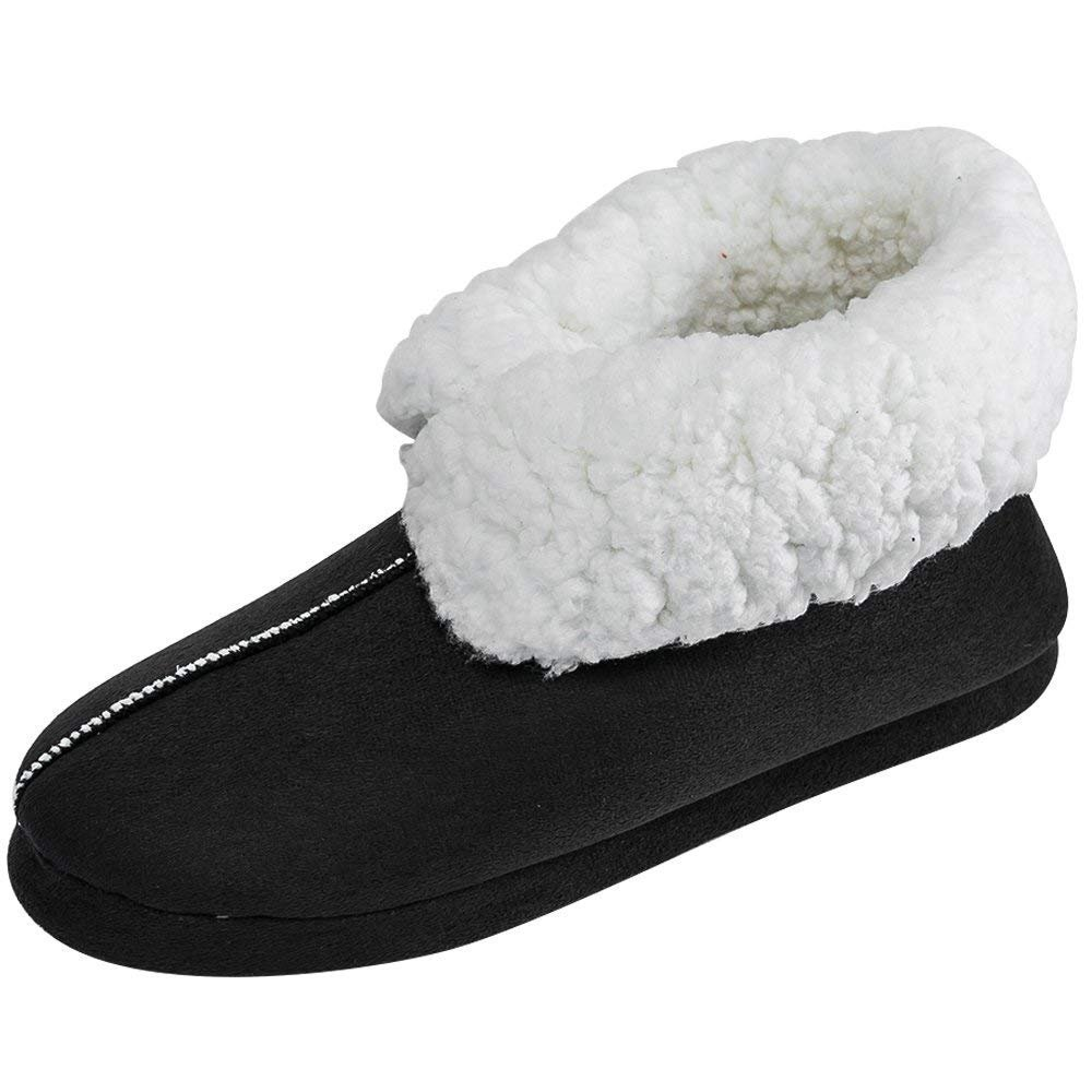 SITAILE Women House Slippers Fleece Lined Memory Foam Indoor Home Slip on Slippers Boots,Black M