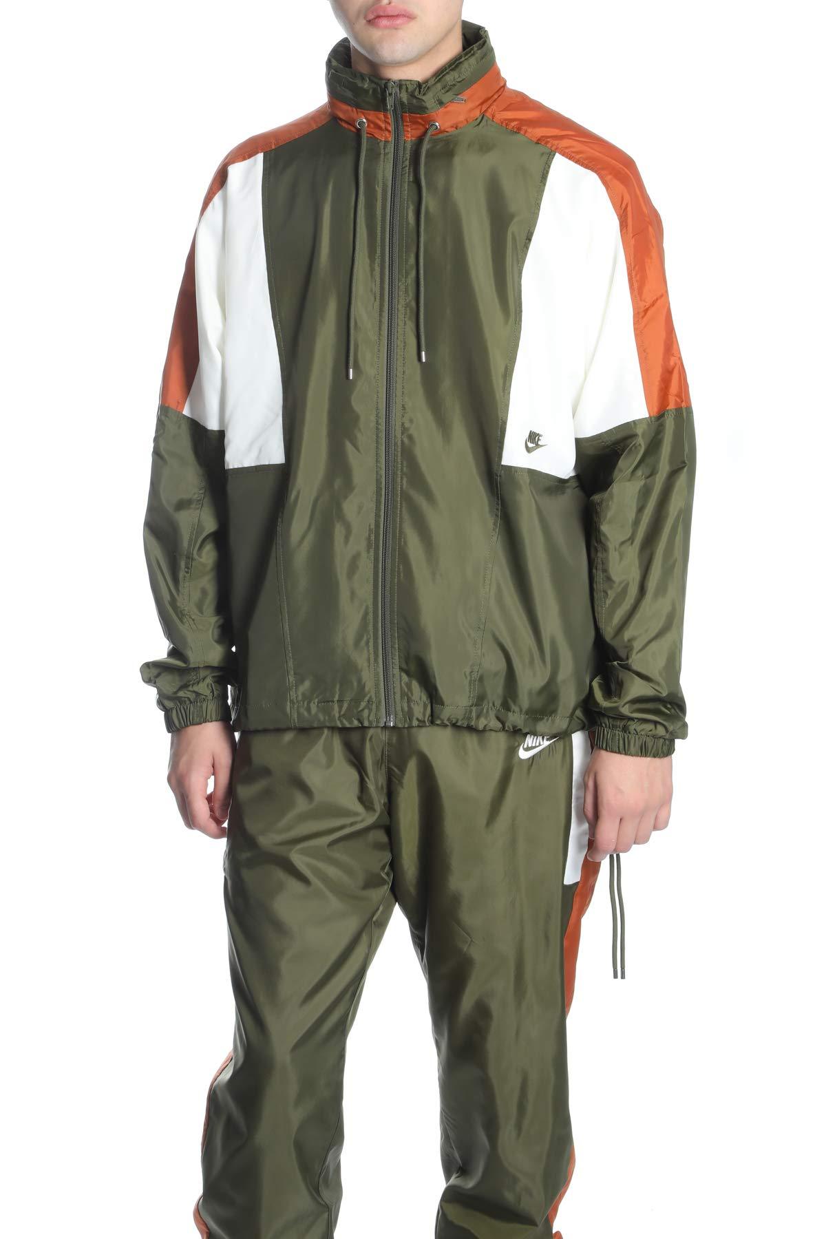 NIKE Sportswear Woven Men's Jacket (Olive Canvas/Dark Russet/Sail, Medium)
