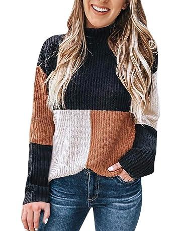Suéter de Las Mujeres de Invierno cálido Patchwork Color Block Stand Cuello  Alto Manga Larga de 45c30b1411e2