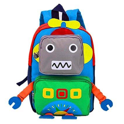 ac0f8578c2ee TeMan Kids Backpack Kindergarten Cartoon Schoolbag Robot (Green)