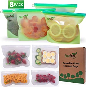 Reusable Food Storage Bags | 4 Silicone Bags: 1 Large 3 Medium | 4 PEVA Ziplock Bag: 2 Sandwich Bags 2 Snack size. Dishwasher Safe Silicon bag. Great for Freezer and Kitchen - Plastic Free, BPA FREE