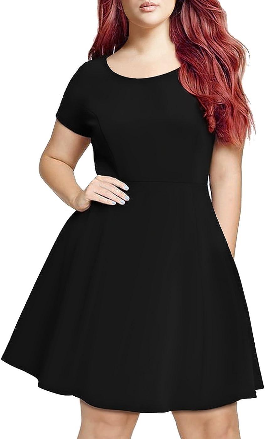 HDE Short Sleeve Black Skater Dress - Plus Size Graduation Dresses for Women