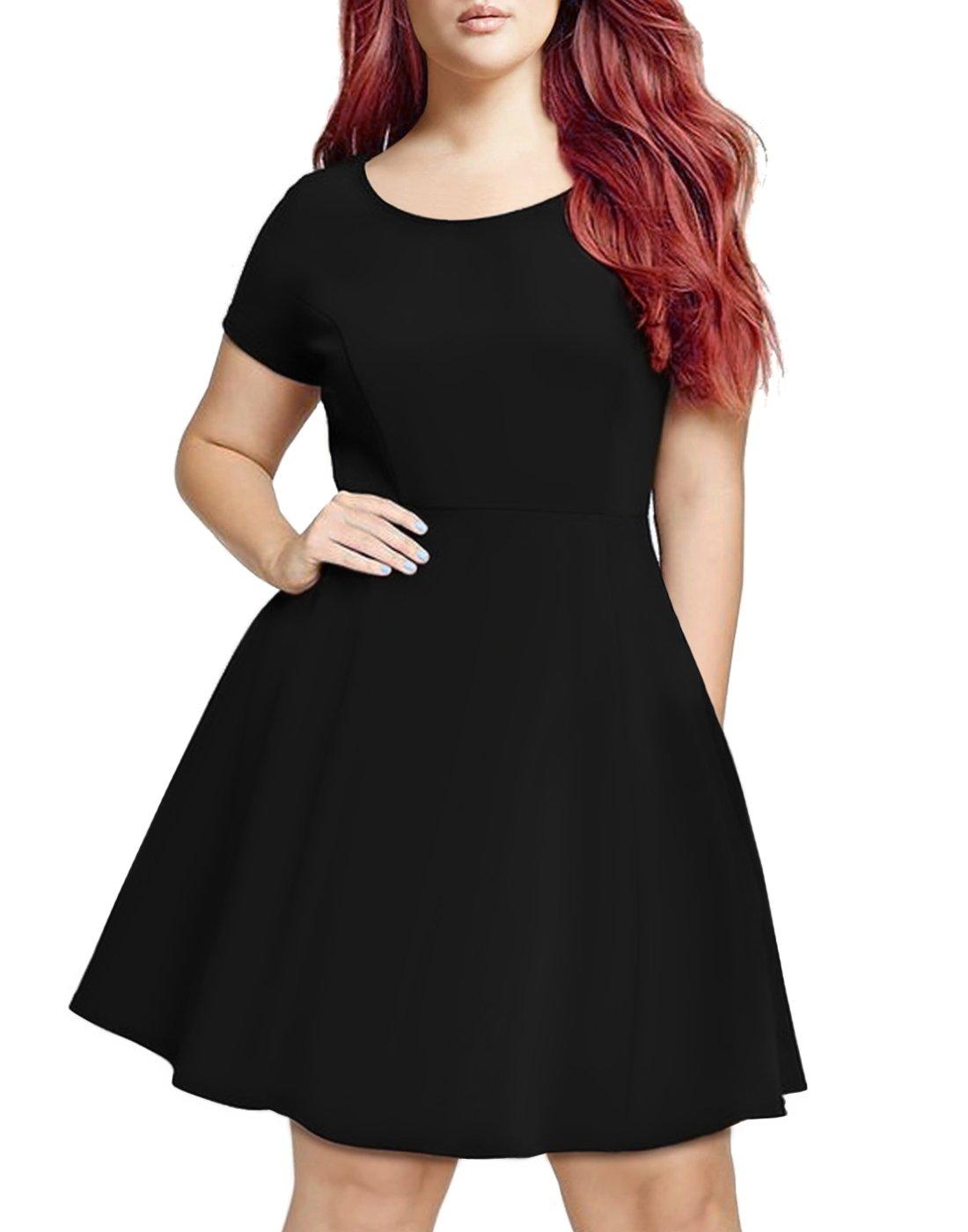 HDE Women's Plus Size Short Sleeve Flared Casual Summer A-Line Midi Dress (Black, 3X)