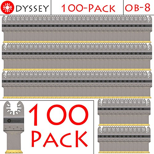 Odyssey Titanium Bi-Metal Oscillating Multitool 1-1/8 inch Wide Wood Plastic Saw Blade Fits Fein Multimaster Bosch Makita Dremel Ridgid Ryobi Makita Milwaukee Dewalt Rockwell Skil Multi Tools, (100 Pack)