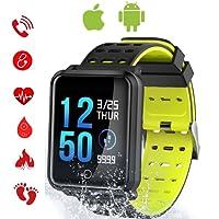 Tagobee TB06 IP68 reloj inteligente a prueba de agua HD pantalla táctil monitor de la aptitud Presión arterial frecuencia cardíaca monitorización del sueño podómetro para hombres mujeres Compatible con teléfono inteligente Samsung Huawei LG teléfono inteligente y iPhone (negro)