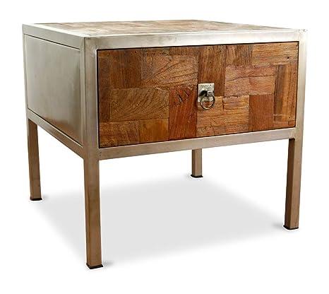 livasia Java Beistelltisch aus Metall und Teakholz | Nachttisch im  Industrial Design | Asiatische Möbel der Marke Asia Wohnstudio |  Nachtschrank | ...