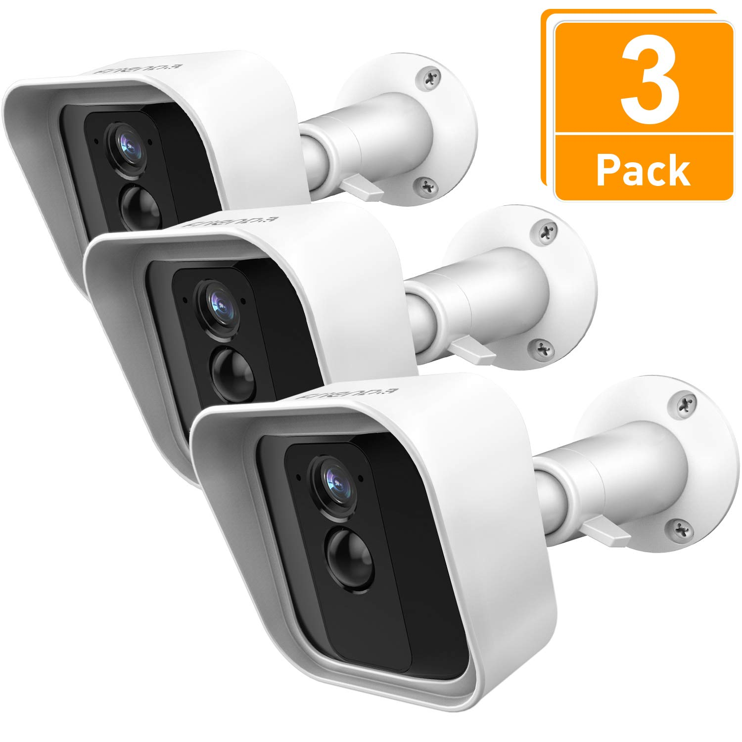 Frienda Silicone Protective Skin Cover and 360 Degree Adjustable Wall Mount Bracket Compatible with Blink XT Indoor/Outdoor Security Camera, 3 Sets (White)
