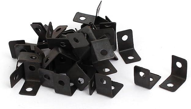 12mmx9mmx12mm L Shape Metal Angle Brackets Corner Braces Black 30pcs