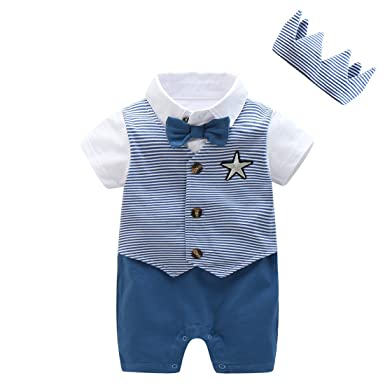 18fc60787608 Image Unavailable. Image not available for. Color  Baby Boy Gentleman  Rompers Outfits