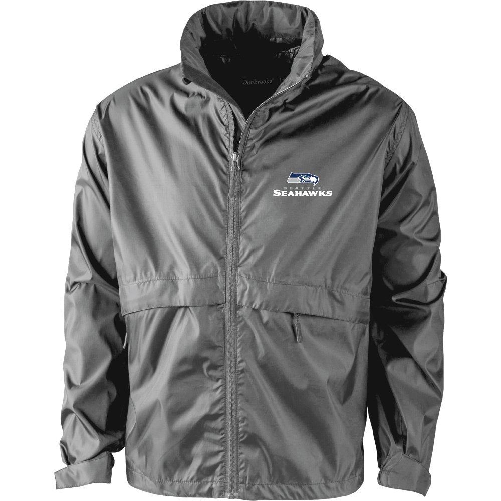 medium Graphite NFL Seattle Seahawks Mens Sportsman Waterproof Windbreaker Jacket