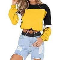 Sudadera para Mujer,riou Sudaderas Adolescentes Chica De Manga Larga Empalme Color Moda Sudadera Pullover Tops Blusa…