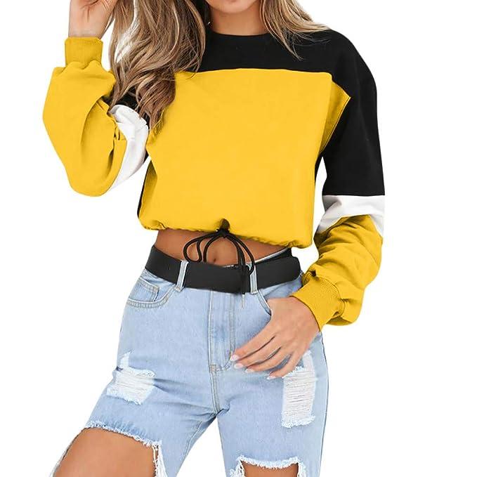 ❤ Sudaderas Mujer sin Capucha,Suéter de Manga Larga Colorblock de Mujer Camis Absolute: Amazon.es: Ropa y accesorios