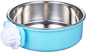 DeaLott Crate Dog Bowl, Removable Stainless Steel Coop Cup Hanging Pet Cage Bowl Large Water Food Feeder for Dogs Cats Rabbits Puppy-Blue