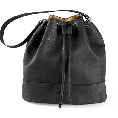 11ca2e343f9e Corkor Bucket Bag for Women Crossbody Shoulder Handbag Non-Leather Vegan Black  Cork