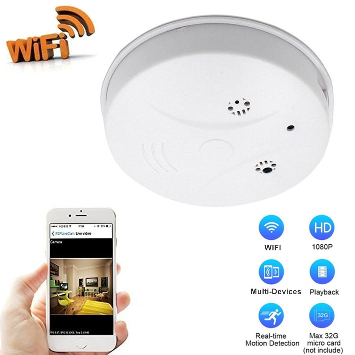Heymoko Wi-Fi Smoke Detector Camera Motion Detection 1080P Wireless IP Indoor Baby Pet Monitor Remote Free App View Nanny Cam Home Security Camera SD Card Storage to 32GB