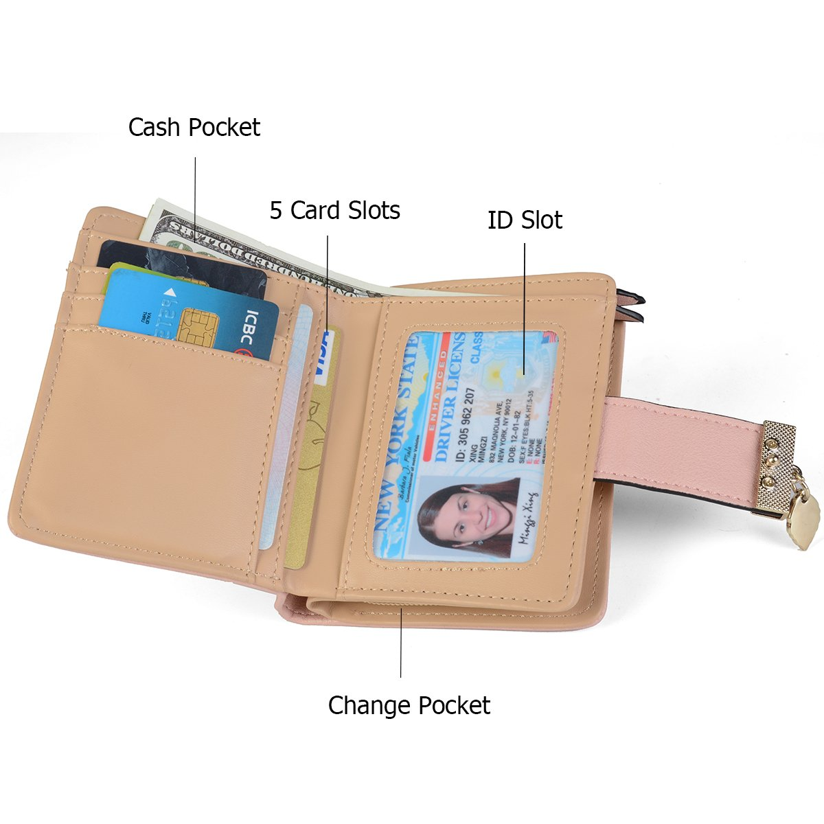 Women's Short Leather Wallet Leaf Bifold Card Coin Holder Small Purses Buckle Zipper Clutch,Pink-by Vodiu by vodiu (Image #1)