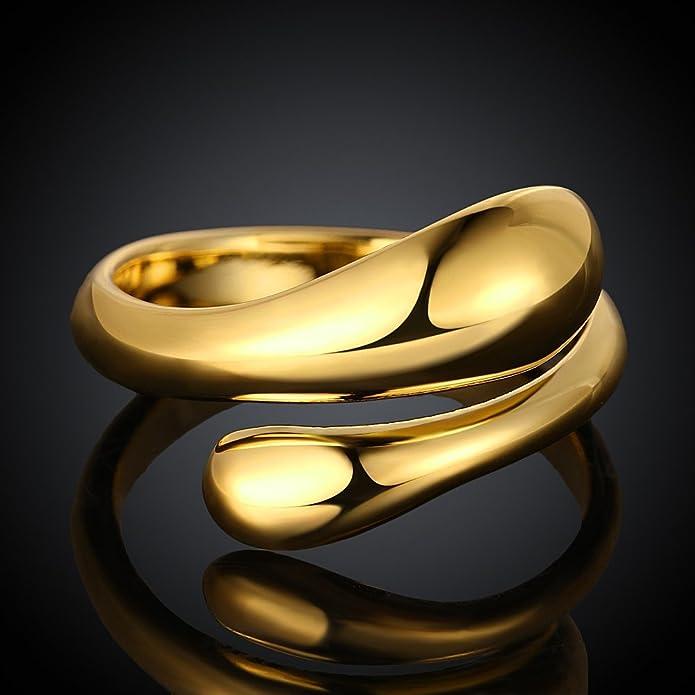Yazilind Bijoux Brillants Conception Simple Ouverture Or r/églable en Or plaqu/é pour Le Couple
