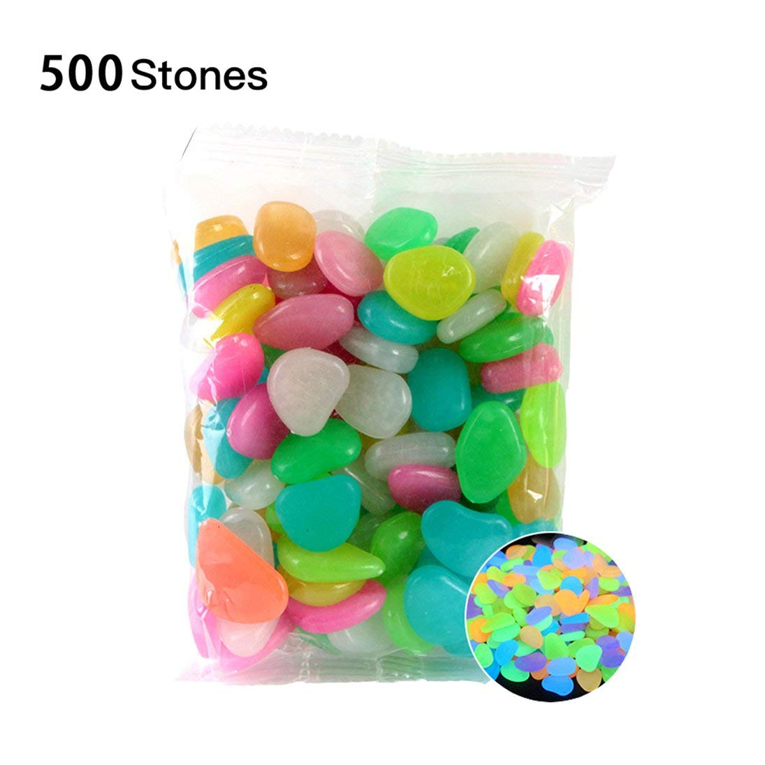 Baynne-US Glowing Stones Luminous Stones 500PCS Glow in The Dark Luminous Pebbles Compatible for Backyard Walkways Path Gardens Lawns Driveways Fish Tank Aquarium Flower Beds by Baynne-US