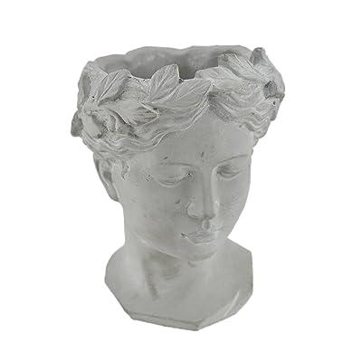 Classic Greek Grey Lady Indoor Outdoor Cement Head Planter : Garden & Outdoor