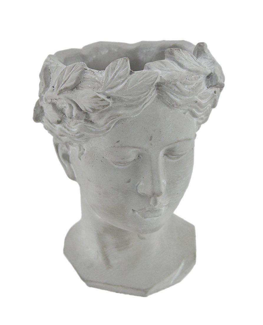 Classic Greek Grey Lady Indoor Outdoor Cement Head Planter