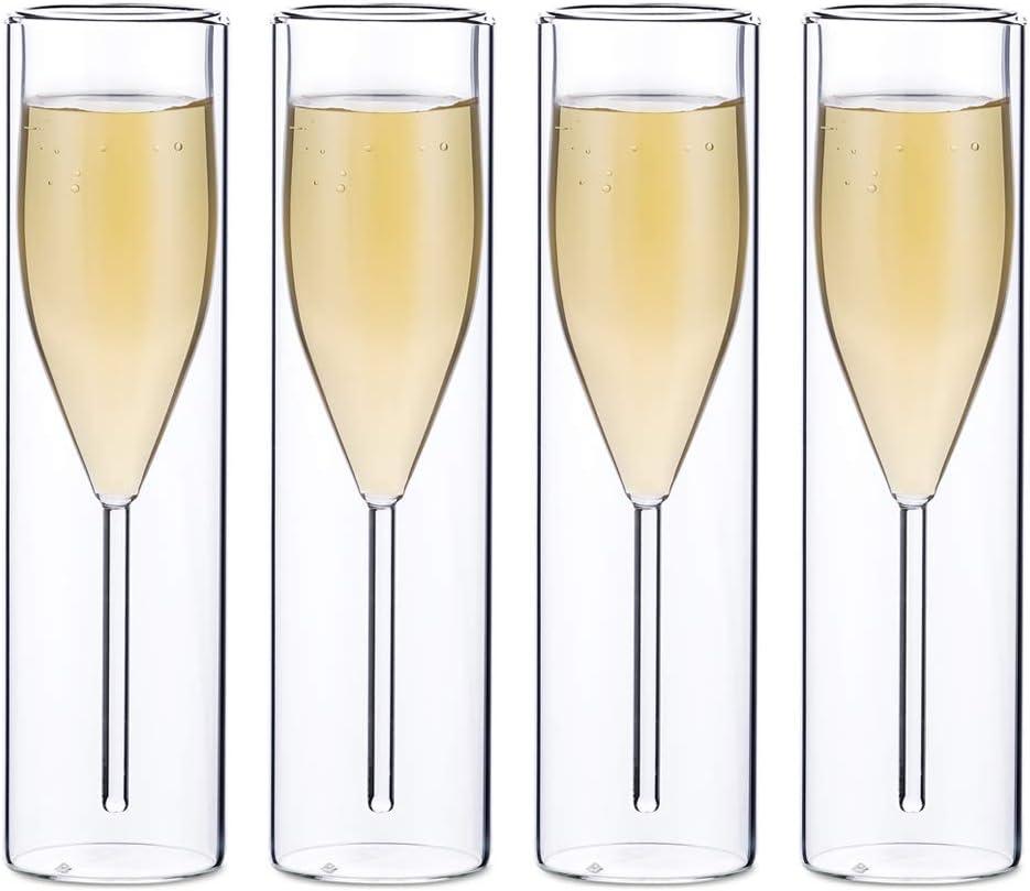 Sziqiqi Verres à Flûte à Champagne en Cristal à Double Paroi