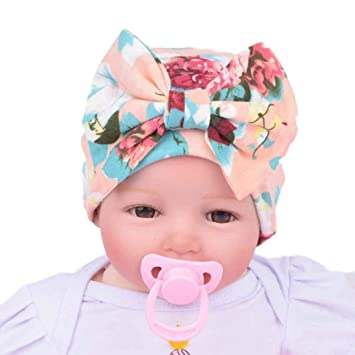 d302562118b Image Unavailable. Image not available for. Color  Fullkang Newborn  Hospital Hat Newborn Baby Hats With Flower Bowknot Flower (Pink)