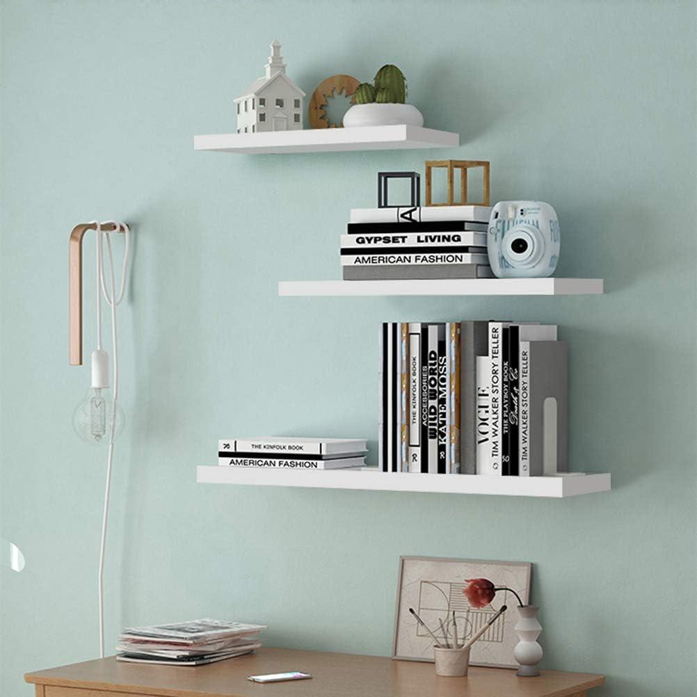 White Floating Shelves, Set of 3 Display Wall Mounted Rack Ledge Wood Floating Shelves Showcase Home Decor Organizer Storage for Bedroom Office Kitchen Living Room, White