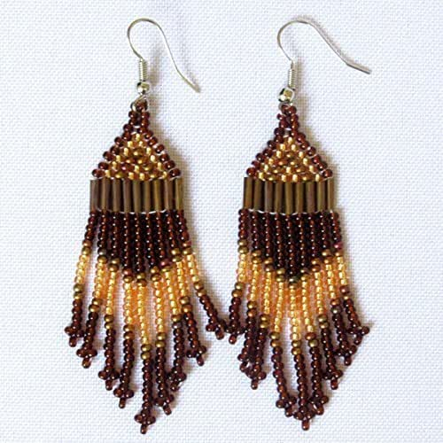 African Zulu beaded earrings - Chandelier NEW DESIGN- Gold/bronze/brown - Gift for her