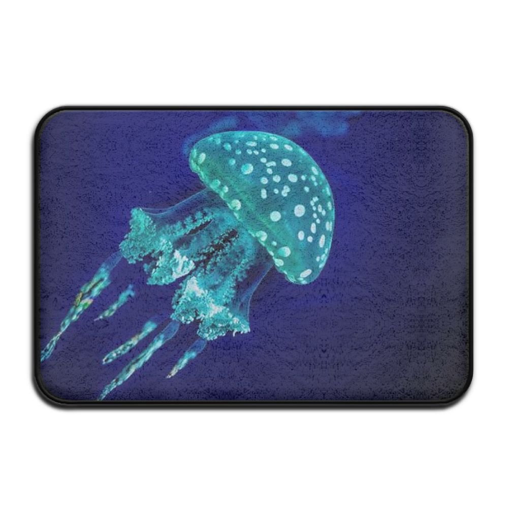 HOMESTORES Turquoise Greeen Under Sea Ocean Jellyfish Bath Rug Flannel Microfiber Foam Bath Mat - Non-slip Soft Absorbent Bathroom Mat Kitchen Floor Carpet 17x24 Inch