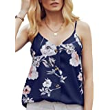 HUUSA Women's Casual Loose Tank Tops Summer Sleeveless Button Down Strappy V Neck Cami Shirts Blouses