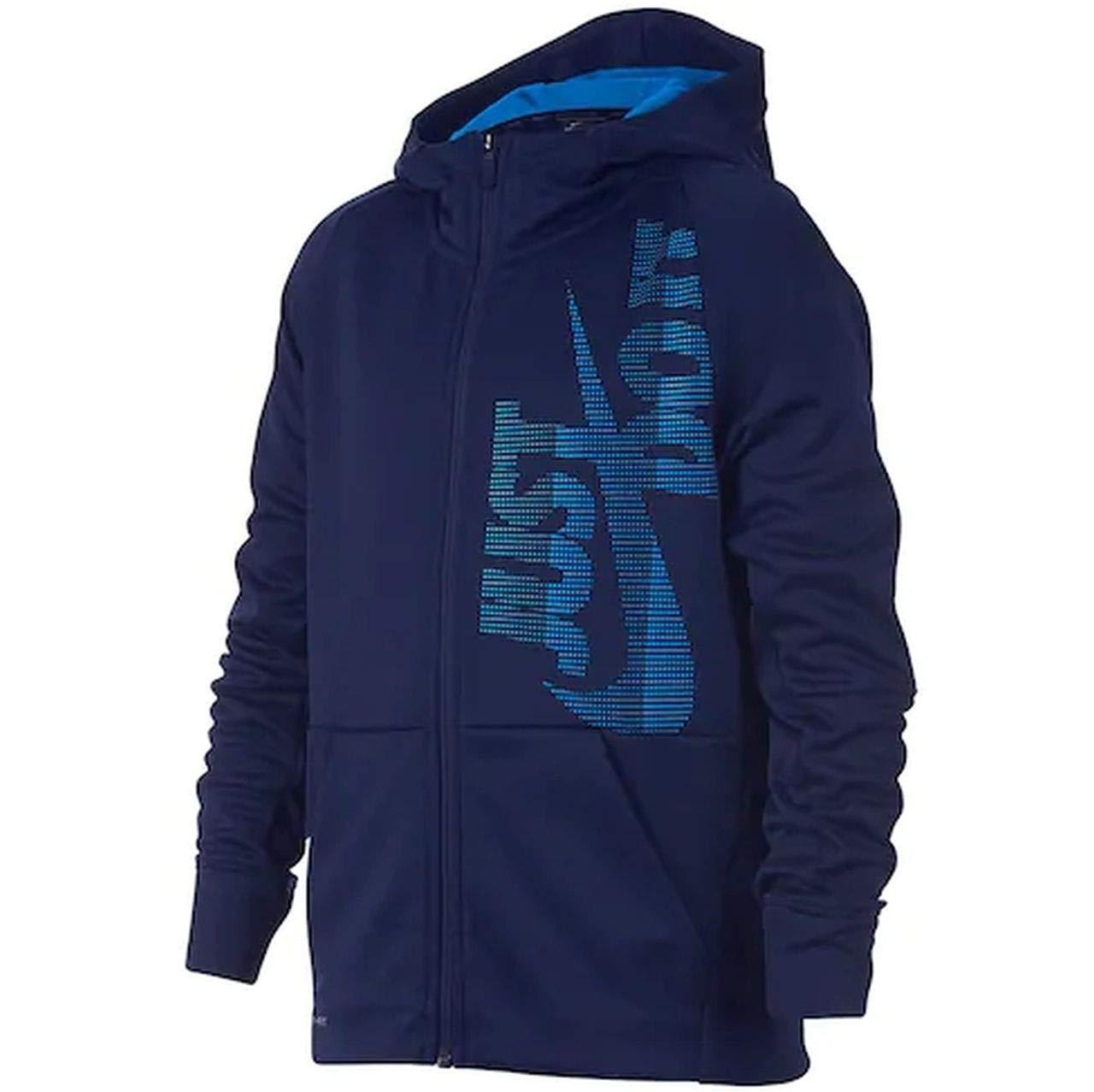 Nike Boys Therma Full-Zip JDI Just Do It Hoodie (Medium, Blue Void/Blue Hero)