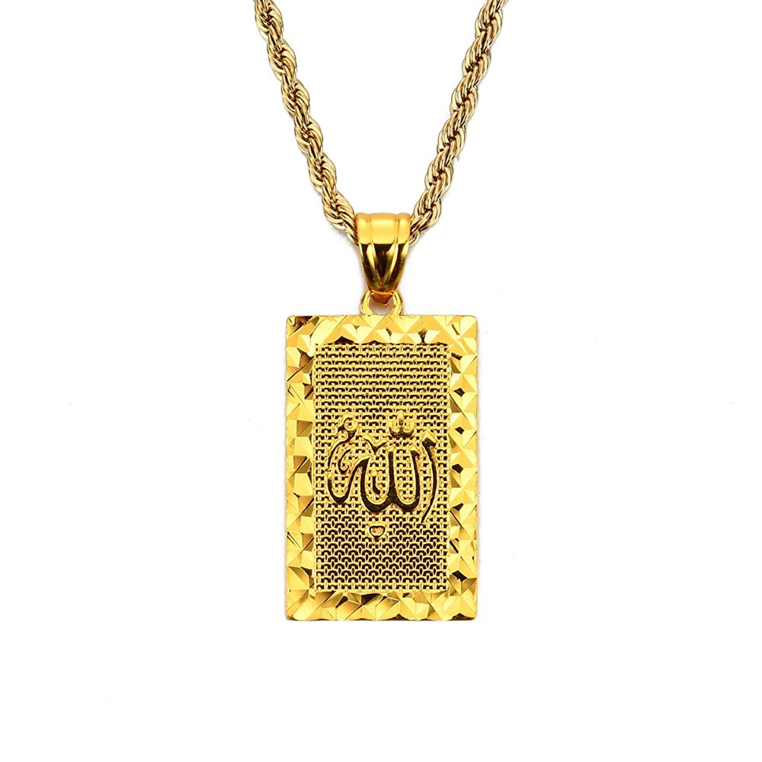 24 inch Middle East Islam Mulsim Allah Small Tag Pendant Necklace Rope Chain