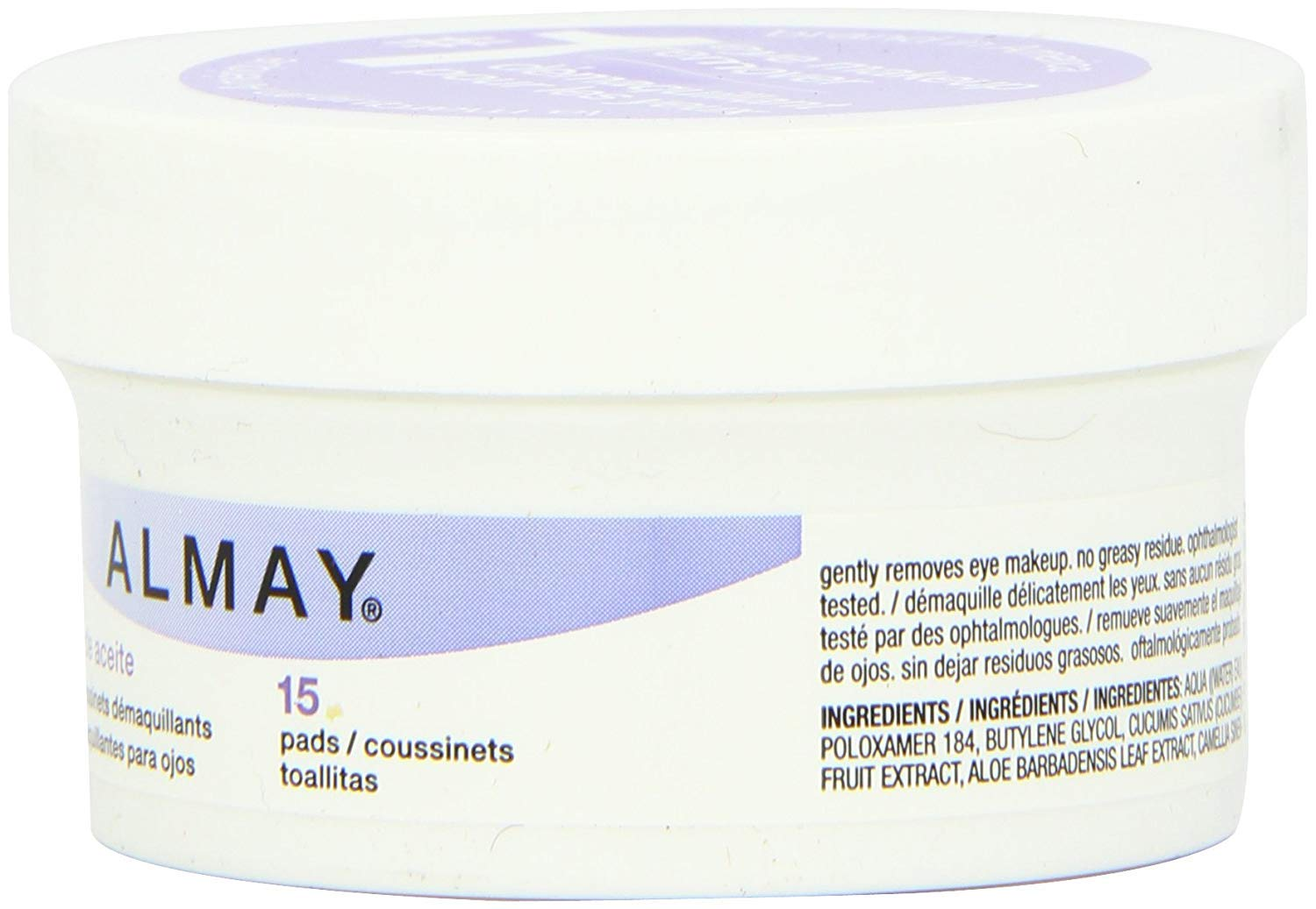 Amazon.com: Almay Oil Free Eye Makeup Remover Pads, 15 Count in 1 Box (Pack of 4): Office Products